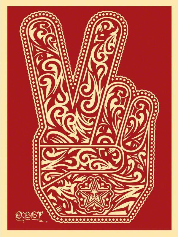 Shepard Fairey, 'Peace Fingers 2', 2016, Print, Screenprint, Art for ACLU Benefit Auction
