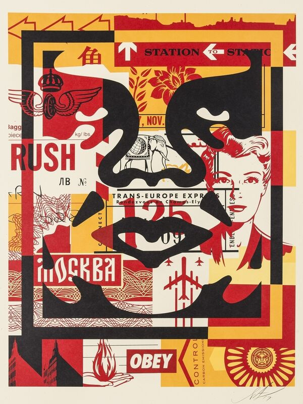 Shepard Fairey, 'Three Faces Collage I-III', 2017, Print, The set of three offset lithographs printed in colours, Forum Auctions