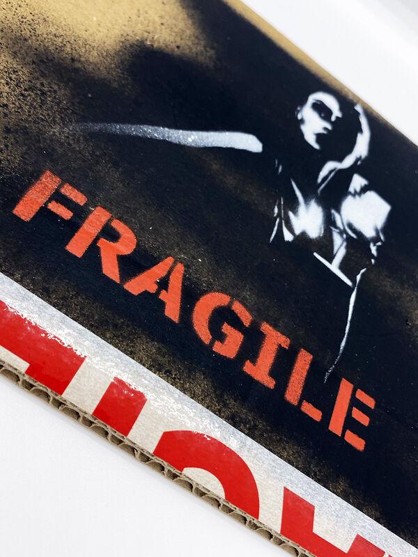 Kunstrasen, ''Fragile'', 2020, Painting, Unique spray paint/stencil on repurposed cardboard., Signari Gallery