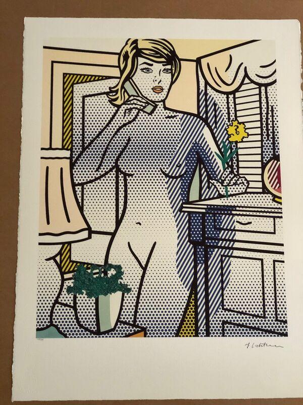 Roy Lichtenstein, 'Nude with Yellow Flower (Standing Nude on Phone)', 1994, Print, Serigraph, Leviton Fine Art