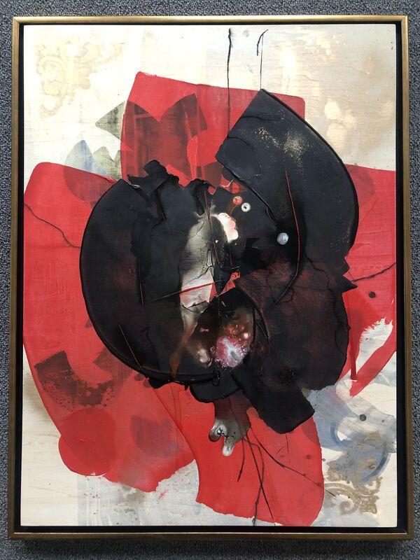 Jess Barnett, 'Feathered Eye of the Needle', 2020, Painting, Spray paint, acrylic paint, acrylic ink, interference pigment and pastel on wood panel, ShockBoxx