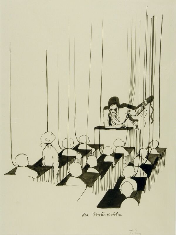 Tomi Ungerer, 'Der Unterrichter (The Teacher)', c. 1980, Drawing, Collage or other Work on Paper, Ink and ink wash on paper, Drawing Center