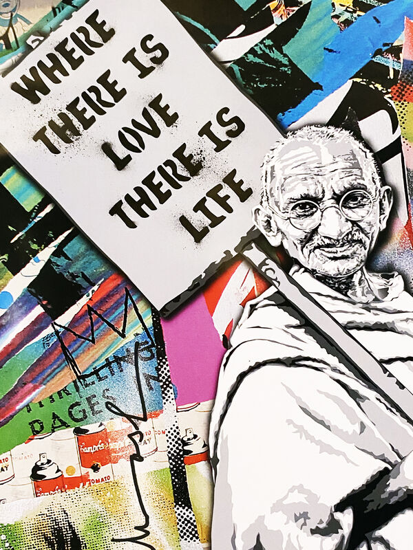 Mr. Brainwash, ''Gandhi: Where There is Love, There is Life'', 2010, Ephemera or Merchandise, Offset lithograph on satin poster paper., Signari Gallery