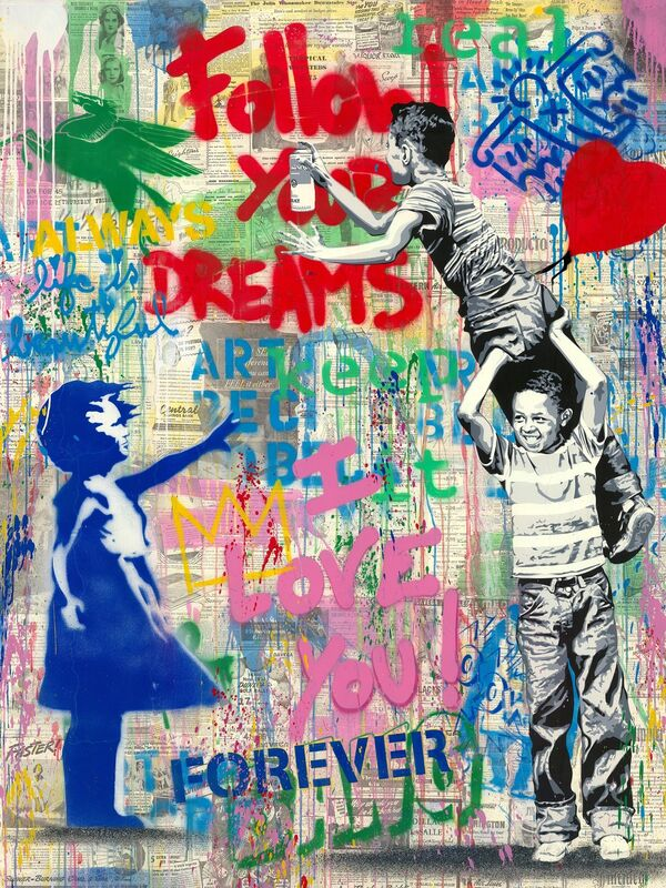Mr. Brainwash, 'Never Never Give Up!', 2020, Mixed Media, Silkscreen and mixed media on paper, Taglialatella Galleries