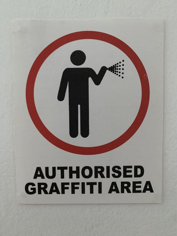 """Banksy, ' BANKSY """"AUTHORISED GRAFFITI AREA"""" STICKER WITH PROVENANCE LETTER FROM LAZINC', ca. 2004, Ephemera or Merchandise, Fasson backed sticker, Arts Limited"""