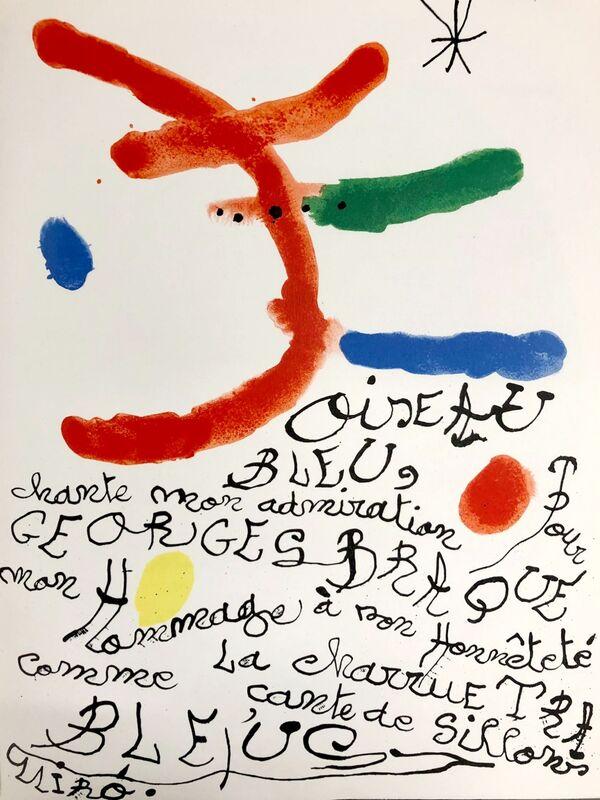 Joan Miró, 'Hommage à Georges Braque', 1964, Print, Original lithograph on wove paper, Samhart Gallery