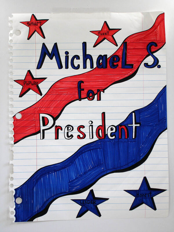Michael Scoggins, 'Michael S. for President', 2006, Drawing, Collage or other Work on Paper, Marker, acetate, colored pencil on paper, Diana Lowenstein Gallery