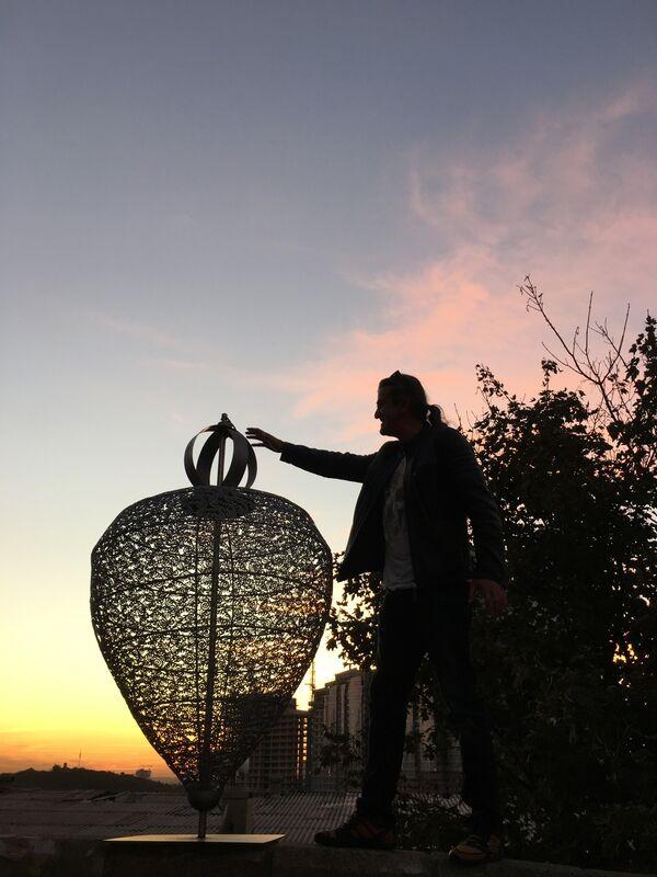 Kemal Tufan, 'Whirligig with chameleon ', 2016, Sculpture, Stainless steel, Pg Art Gallery
