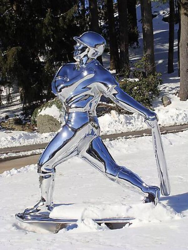 Yoram Wolberger, 'TROPHY #1 (Baseball)', 2008, Sculpture, Cast stainless steel, Mark Moore Fine Art