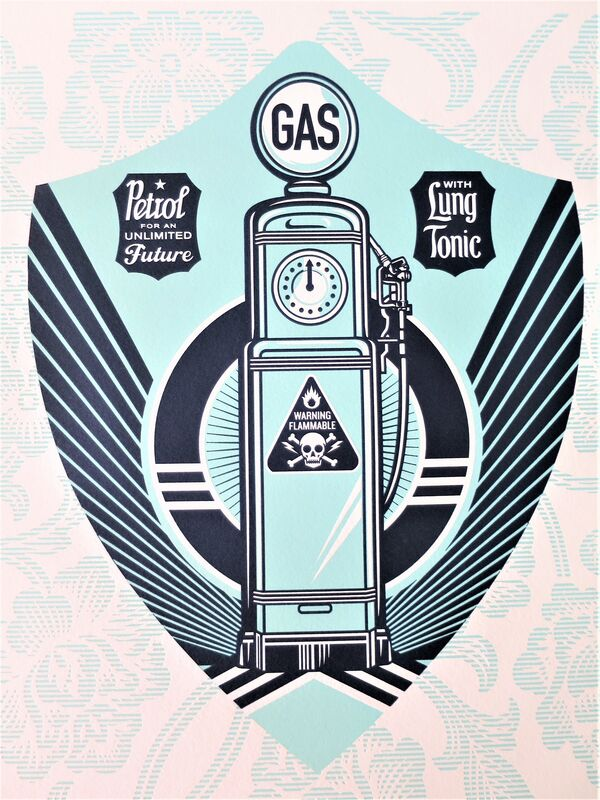 Shepard Fairey, 'Gas Pump Earth Crisis', 2016, Print, Letterpress on Speckletone paper, AYNAC Gallery