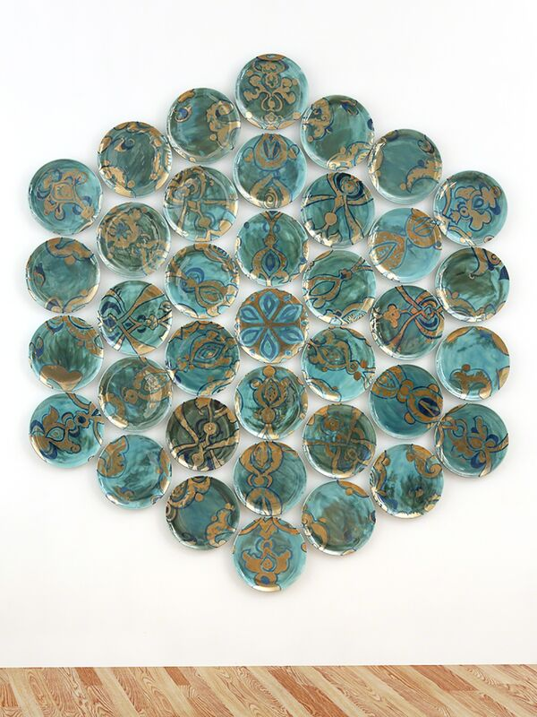 Molly Hatch, 'Molly Hatch, Aria, USA, 2016', 2016, Installation, 37 hand painted earthenware plates with glaze, underglaze and gold luster, Todd Merrill Studio