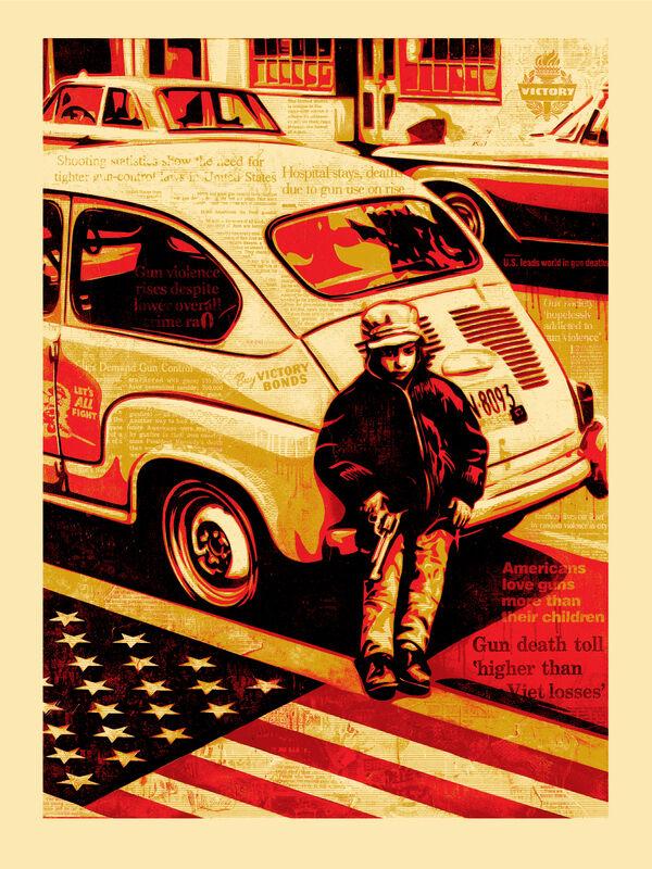 Shepard Fairey, 'Gun Culture', 2016, Print, 4-Color Serigraph on Varnished 100% Cotton Rag Archival Paper, Subliminal Projects
