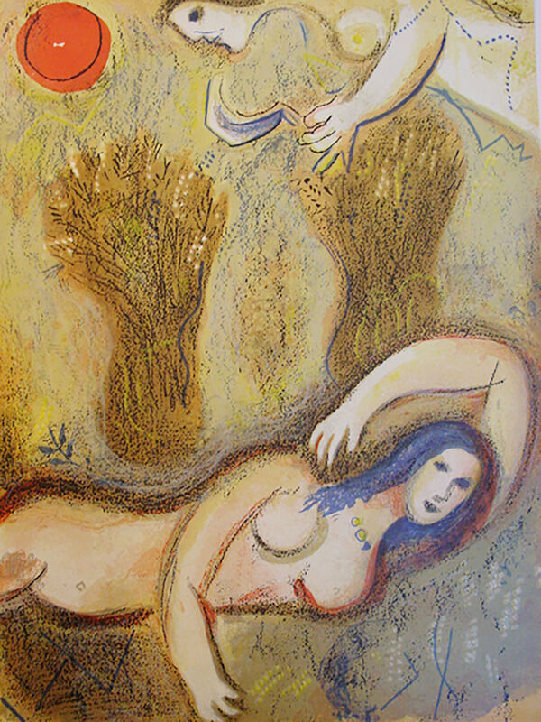Marc Chagall, 'Boaz Wakes Up and Sees Ruth at His Feet', 1960, Print, Lithograph, Georgetown Frame Shoppe