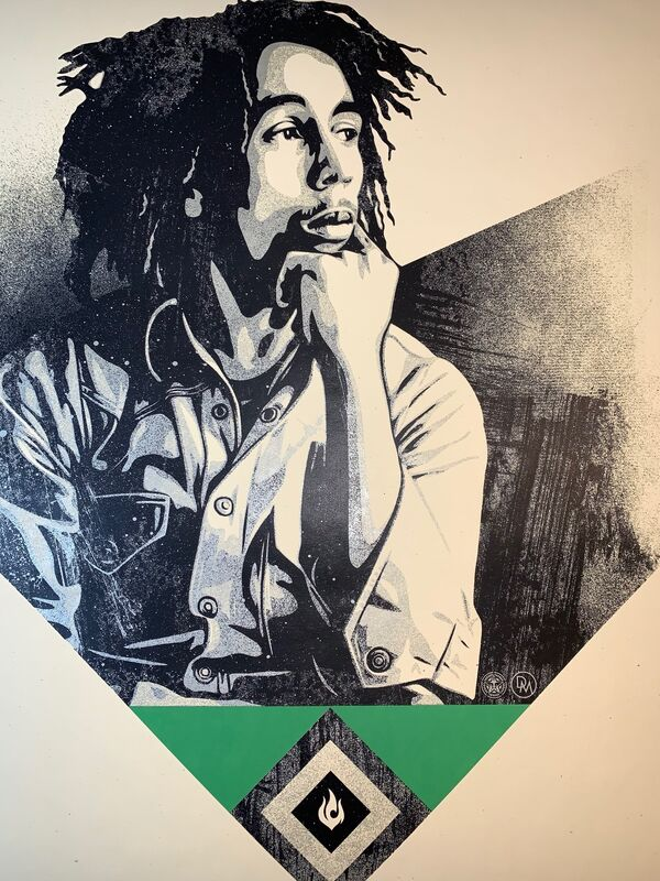 Shepard Fairey, 'Shepard Fairey To Catch a Fire 2020 Obey Giant Print Bob Marley Tribute Green Edition ', 2020, Print, Fine Art Paper On Cream Speckletone, New Union Gallery