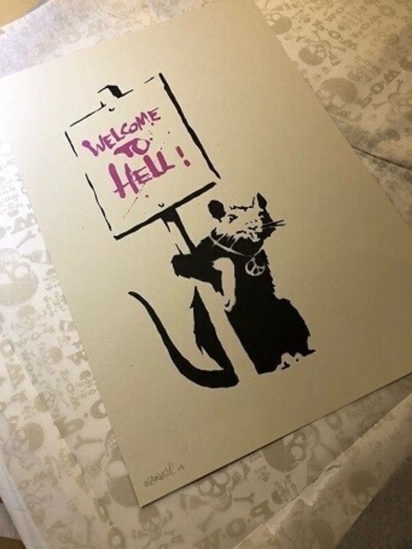 Banksy, 'Rat Welcome to Hell Pink', 2003, Print, 2 color silk screen print, 727Gallery