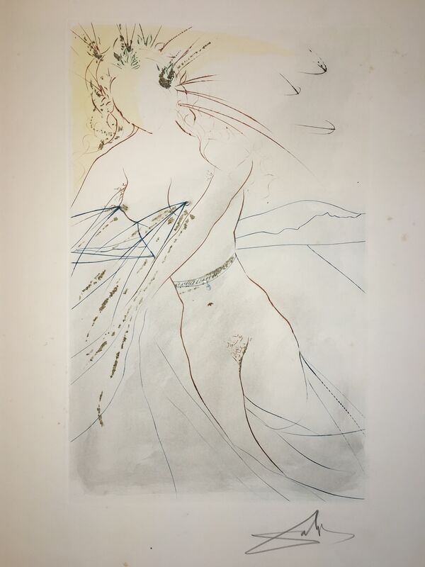 Salvador Dalí, 'Thou Art All Fair ', 1971, Drawing, Collage or other Work on Paper, Original Etching + Color + Gold dust, Dali Paris