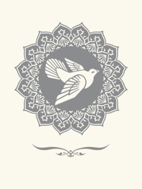 Shepard Fairey, 'PEACE DOVE silver LETTERPRESS PRINT', 2013, Print, LETTERPRESS PRINT, Rudolf Budja Gallery
