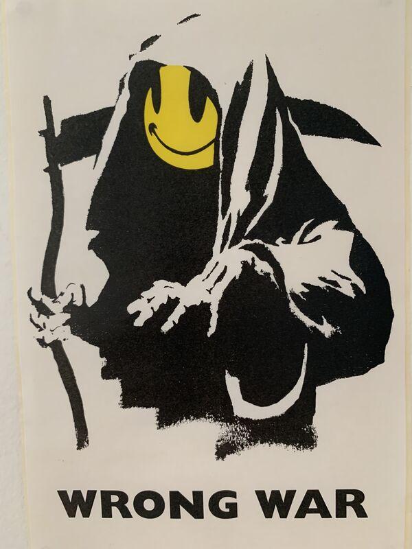 "Banksy, 'BANKSY ""WRONG WAR"" GRIN REAPER STICKER & PROVENANCE LETTER', ca. 2003, Ephemera or Merchandise, Sticker backed, Arts Limited"