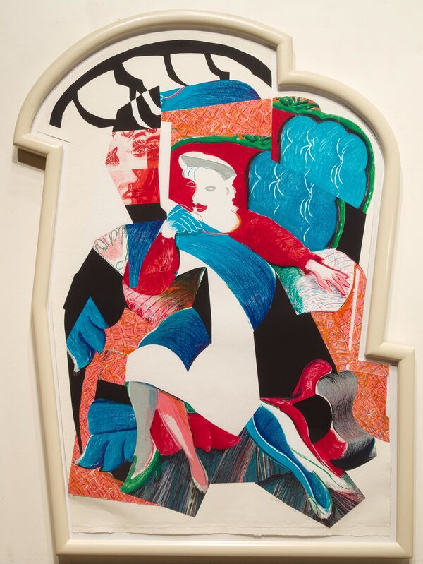 David Hockney, 'An Image of Celia, State II, from Moving Focus', 1984-1986, Print, Lithograph and collage in frame designed by the artist, Leslie Sacks Gallery