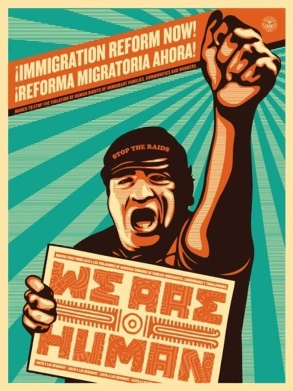 Shepard Fairey, 'Immigration Reform NOW', 2009, Print, Screenprint, Art for ACLU Benefit Auction