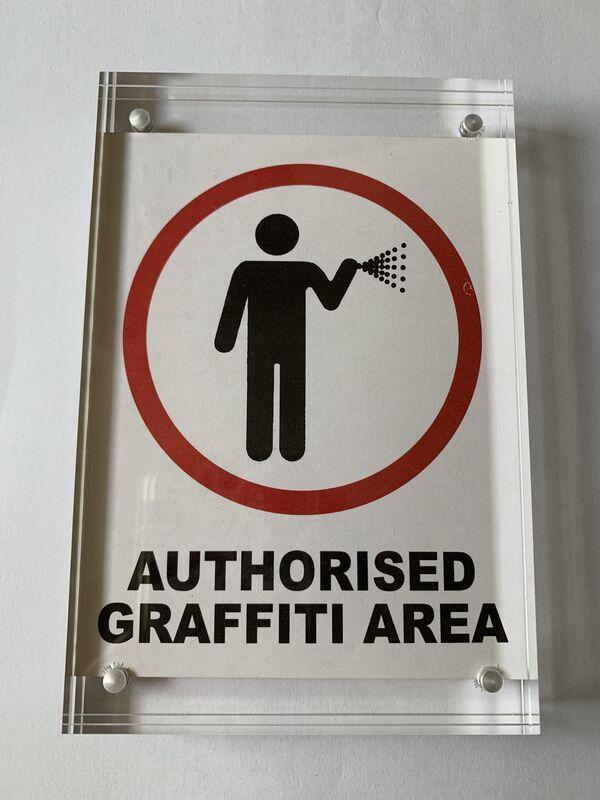 "Banksy, '""AUTHORISED GRAFFITI AREA"" STICKER WITH PROVENANCE LETTER', ca. 2004, Ephemera or Merchandise, Stickeer, Arts Limited"