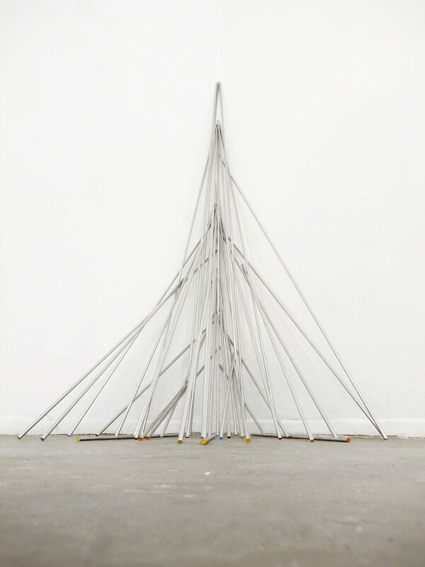Michael John Whelan, 'Sunset over that Spanish Mountain (Metatrons Cube)', 2013, Installation, 39 stainless steel rods, acrylic paint, Grey Noise