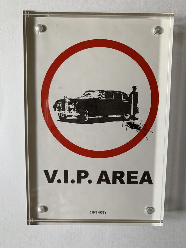"""Banksy, 'BANKSY """"V.I.P AREA"""" STICKER LIMITED EDITION WITH PROVENANCE FROM LAZINC', ca. 2004, Ephemera or Merchandise, Fasson Backed Sticker, Arts Limited"""