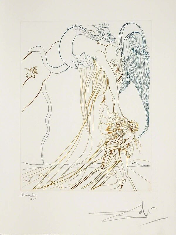 Salvador Dalí, 'The Temptation (Le Paradis Perdu, Plate C)', 1974, Print, Hand-signed engraving, Martin Lawrence Galleries