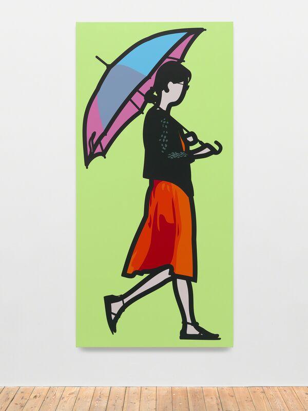Julian Opie, 'Pink Umbrella', 2014, Painting, Vinyl on wooden stretcher, Galeria Mário Sequeira