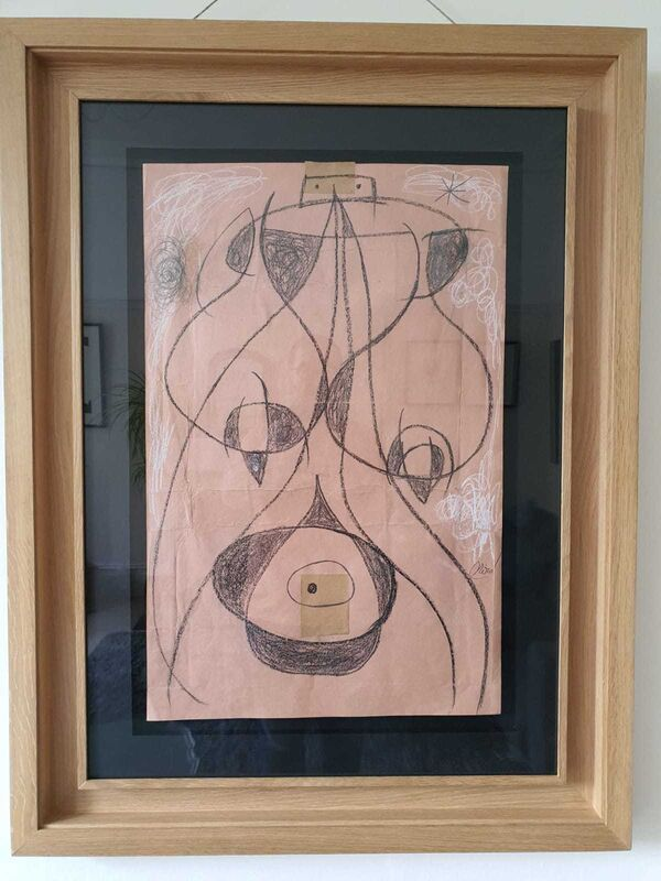 """Joan Miró, 'Femme Dans La Nuit', 1977, Drawing, Collage or other Work on Paper, Original Drawing, graphite, fatty pencil, waxes and collage on pink dyed wrapping paper, 12/IV/77, signed by the artist, inscribed, titled and dated on verso in the artists hand. Above this is a shipping label addressed to Mr & Mrs Joan Miro at their address in Palma, Majorca. sent from """"Picard"""" in Geneva, Switzerland., Hidden"""