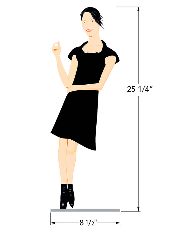 Alex Katz, 'Black Dress', ca. 2018, Sculpture, Cutouts from shaped powder-coated aluminum, printed the same on each side with UV - cured archival inks, clear coated, and mounted to polished stainless steel base, Corridor Contemporary