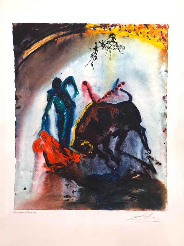 Salvador Dalí, 'Stierkampf - Tauromachie V', 1968, Print, Colored lithograph and embossing, Galerie Kellermann