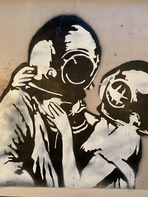 "Banksy, '""Think Tank"" original spray on cardboard.', 2003, Painting, Aerosol spray on cardboard, MultiplesInc Projects"