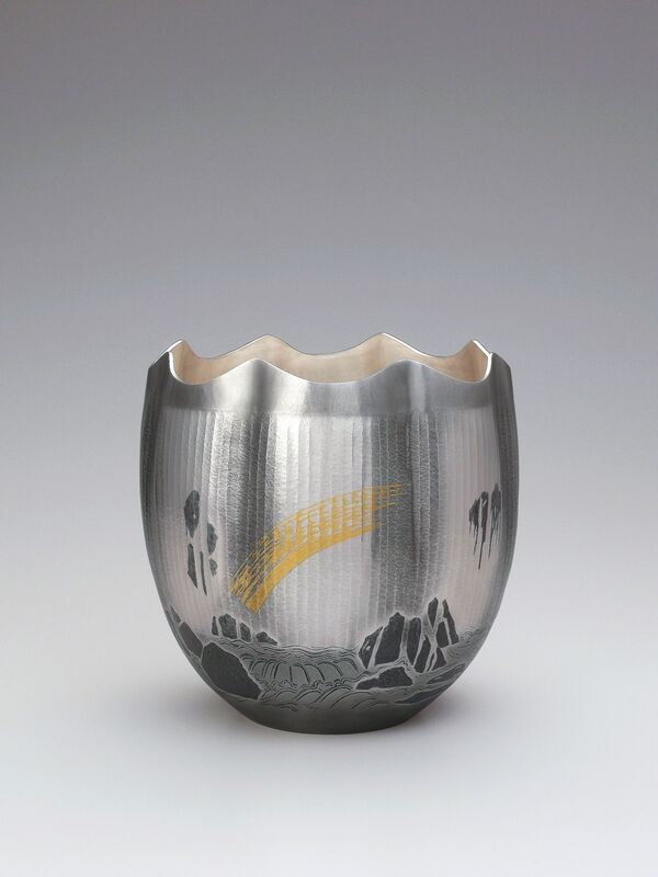 Osumi Yukie, 'Silver Vase Bakufu (Waterfall)', 2011, Design/Decorative Art, Hammered silver with nunome zōgan (textile imprint inlay) decoration in lead and gold, Onishi Gallery