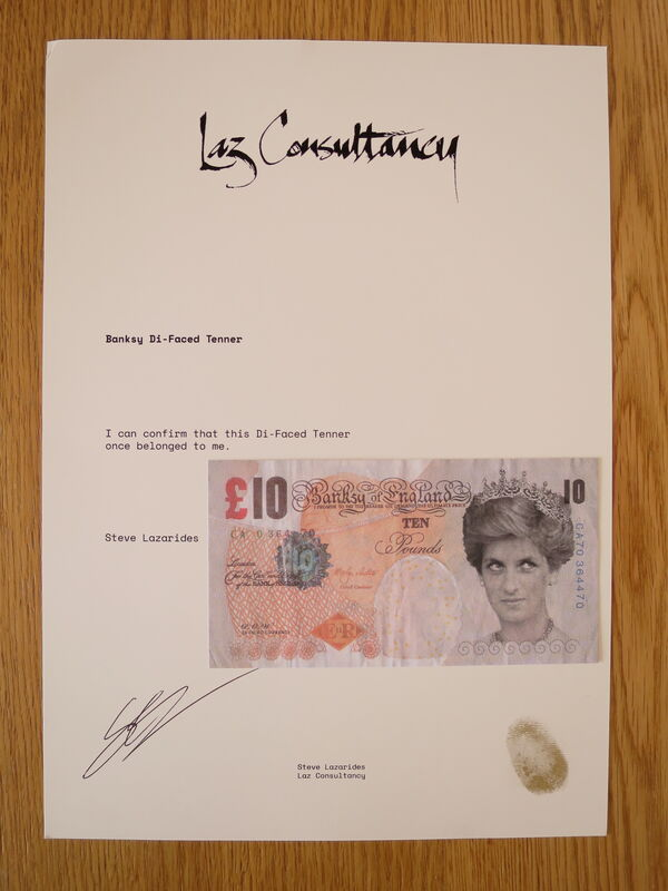 Banksy, 'Di-Faced Tenner (with COA hand-signed)', 2004, Drawing, Collage or other Work on Paper, Custom bank note, AYNAC Gallery