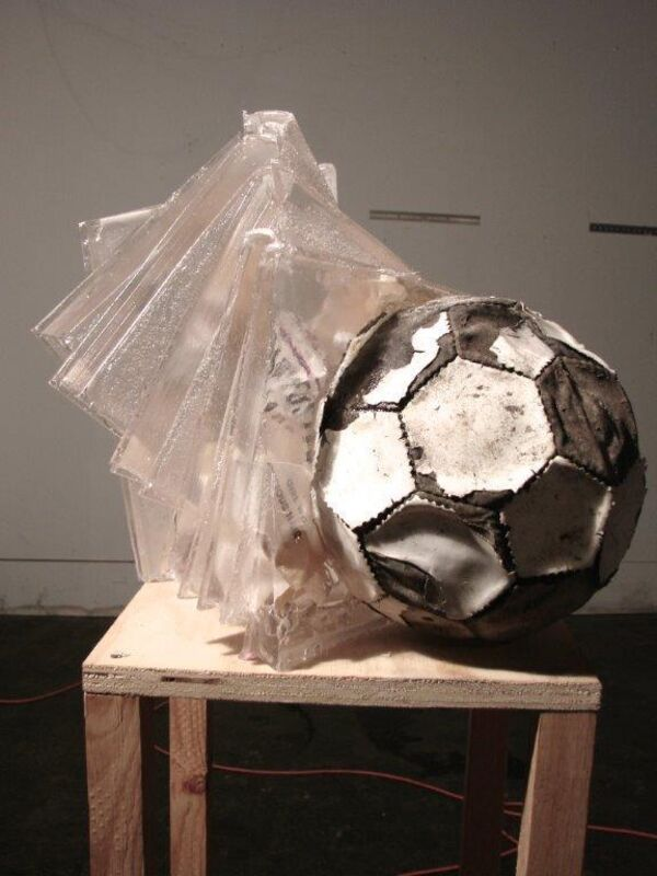Joseph Havel, 'Girl with curious hair', 2014, Sculpture, Urethane resin, Soccer ball and book, Galerie Gabrielle Maubrie