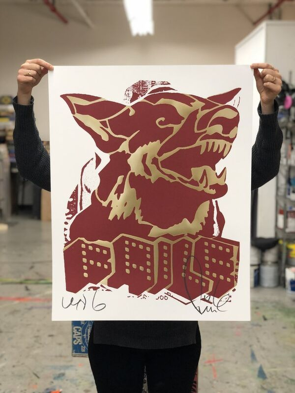 FAILE, 'Faile Dog Red / Gold', 2018, Print, Offset print with Gold Foil, Blackline Gallery
