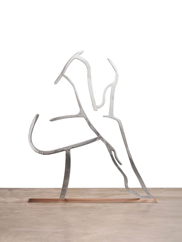 Alex Katz, 'Dancer 1 (Outline)', 2019, Sculpture, Mirror polished stainless steel with anodized black edge on bronze base with patina, Haw Contemporary