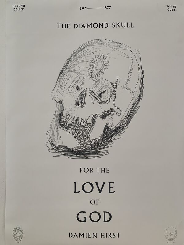 Damien Hirst, 'DAMIEN HIRST FOR THE LOVE OF GOD: THE DIAMOND SKULL, BEYOND BELIEF SKULL DRAWING', 2007, Print, Poster, Arts Limited
