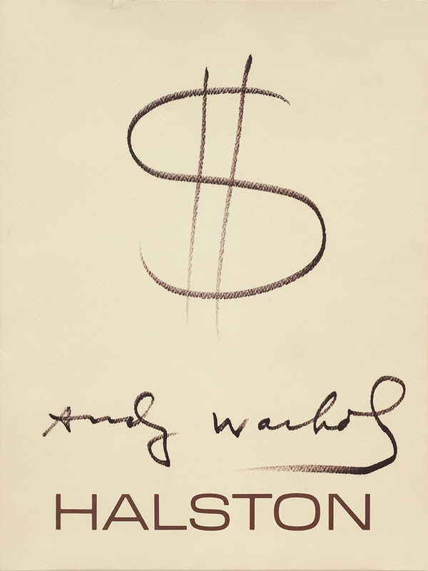 Andy Warhol, 'UNTITLED (HALSTON $ SIGNED DRAWING) ', 1982, Drawing, Collage or other Work on Paper, Black pen, printed card, Artificial Gallery