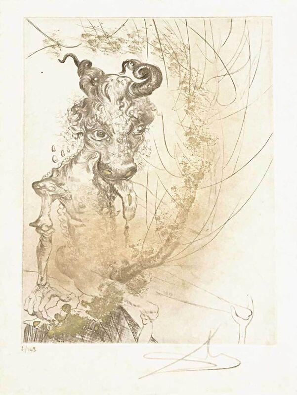 Salvador Dalí, 'Kalbskopf / Bocksteufel - Tête de veau', 1968, Print, Colored etching on japon paper, Galerie Kellermann