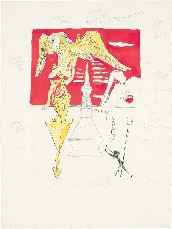 Salvador Dalí, 'La Fusée (The Rocket), for Hommage à Leonardo da Vinci (American Inventions)', 1975, Print, Drypoint with extensive hand-colouring in gouache, on BFK Rives paper, with full margins, Phillips