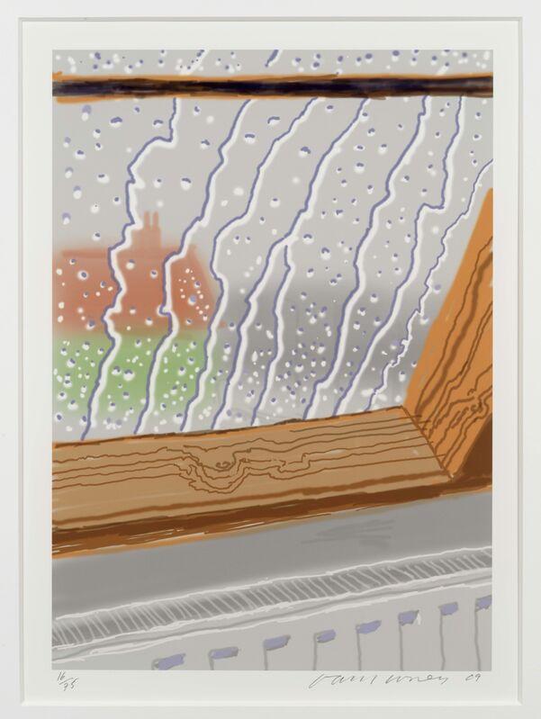 David Hockney, 'Rain on the Studio Window', 2011, Print, Inkjet printer computer drawing, Leslie Sacks Gallery