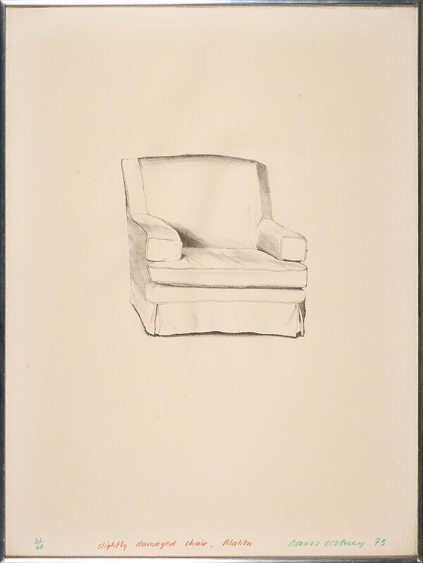 David Hockney, 'Slightly Damaged Chair', 1973, Print, Lithograph on Arches paper (framed), Rago/Wright