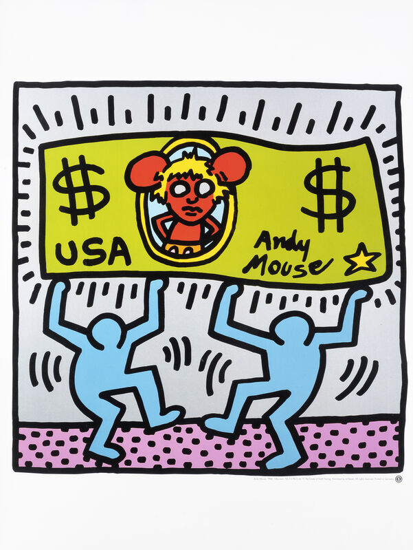 Keith Haring, 'Andy Mouse', 1986, Print, Offset lithograph in colours, Tate Ward Auctions