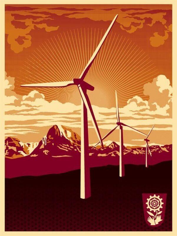 Shepard Fairey, 'obey windmill silk screen', 2009, Print, Screenprint on paper, Rudolf Budja Gallery