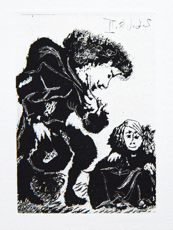 Pablo Picasso, 'Petite Infante Accroupie et Courtisan', 1968, Print, Etching and aquatint, Goldmark Gallery