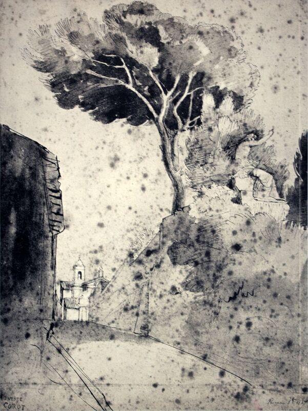 Jean-Baptiste-Camille Corot, 'Roman Landscape', 1960, Print, Stone Lithograph, ArtWise