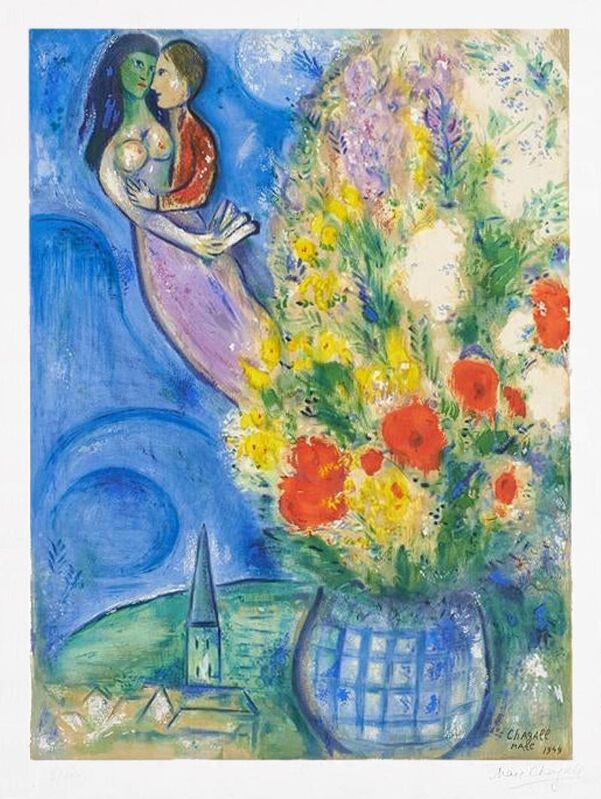 Marc Chagall, 'Les Coquelicots (Red Poppies)', 1949, Print, Color Lithograph on Arches wove paper, Masterworks Fine Art
