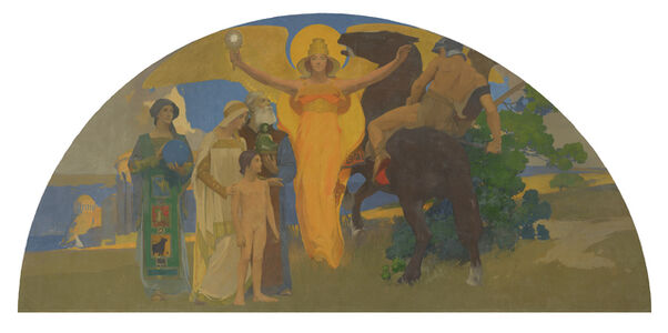 Arthur Frank Mathews, 'The Victory of Culture over Force (Victorious Spirit)', 1914